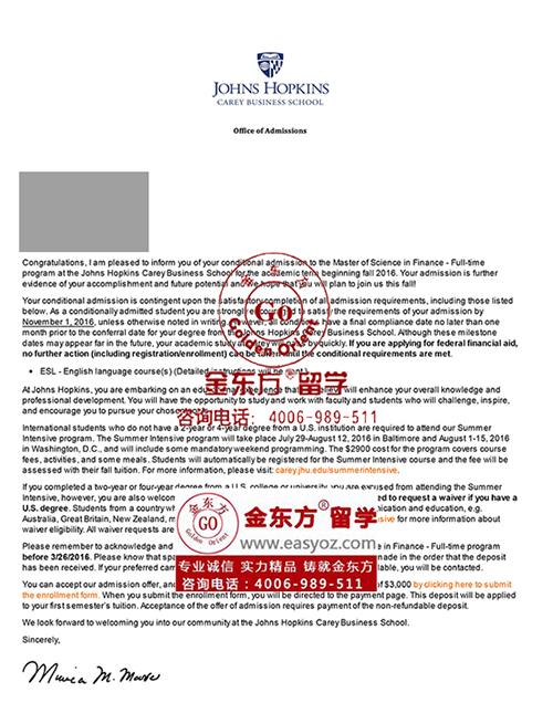 金东方为Y圆梦收到约翰霍普金斯大学金融学硕士录取